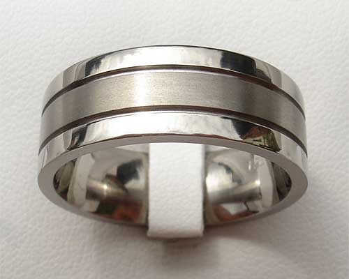 Unusual Grooved Titanium Wedding Ring