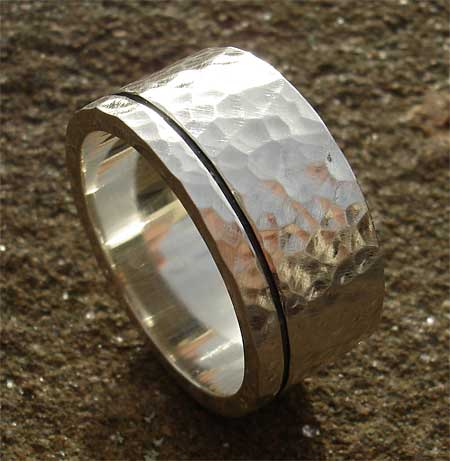 Hammered silver black etched silver ring for men
