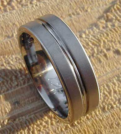 Chunky mens titanium wedding ring