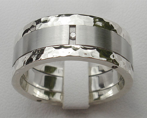 Mens Stainless Steel & Silver Diamond Wedding Ring