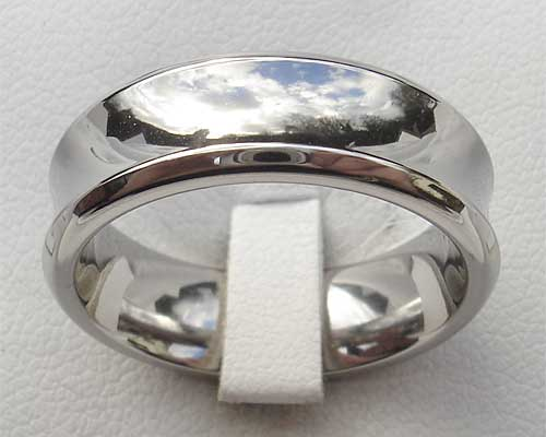Unusual Concave Titanium Wedding Ring