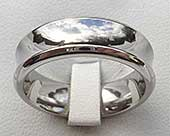 Concave profile titanium wedding ring