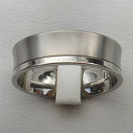 Concave two tone titanium wedding ring