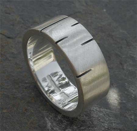 Contemporary etched sterling silver wedding ring