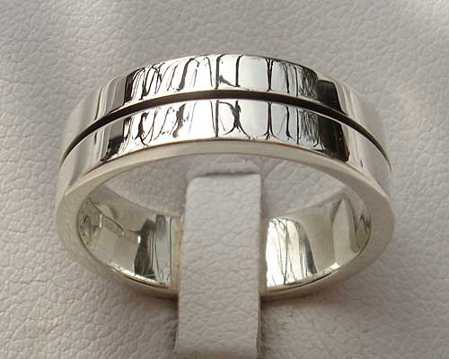 Contemporary flat silver wedding ring