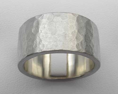 Hammered Mens Silver Ring