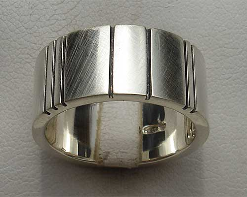 Contemporary mens sterling silver ring