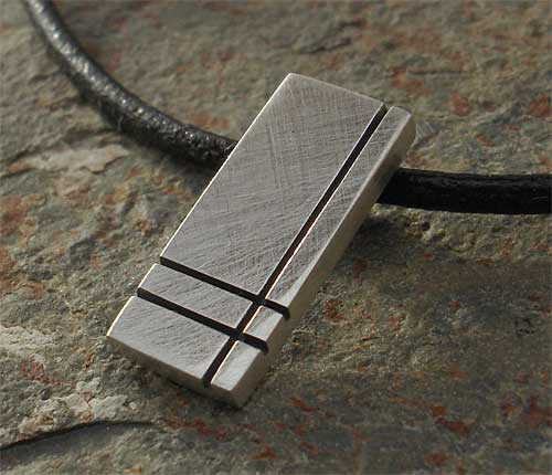 Black Etched Silver Contemporary Pendant