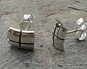 Contemporary silver stud earrings