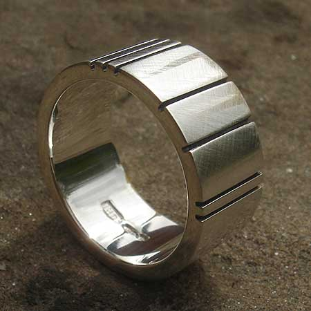 Contemporary sterling silver ring for men