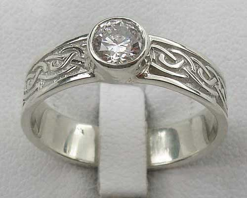 Cubic zirconia silver Celtic engagement ring