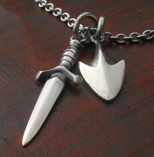 Mens Arrow Tip And Dagger Medieval Necklace