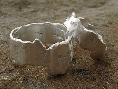 Handmade silver diamond wedding rings