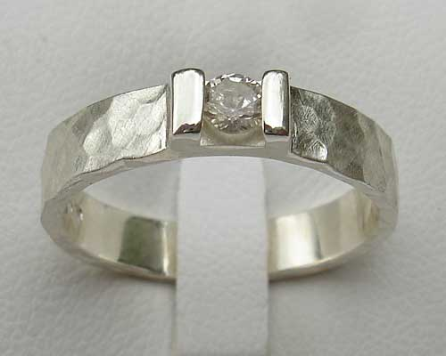 Designer Silver Diamond Engagement Ring