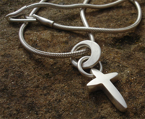 Womens Contemporary Silver Cross Necklace