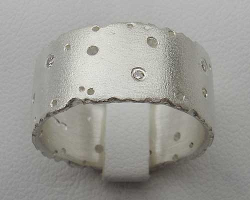Designer silver diamond ring