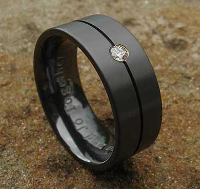 Diamond set black wedding ring for men