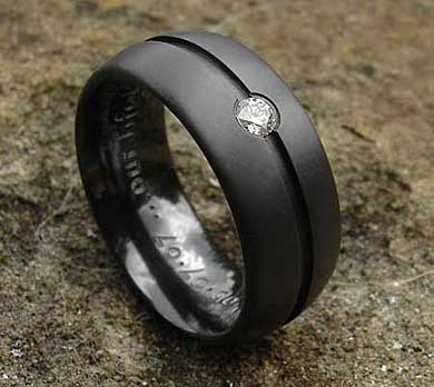Mens Diamond Gothic Black Wedding Ring LOVE2HAVE in the UK