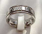 Diamond Roman numeral ring