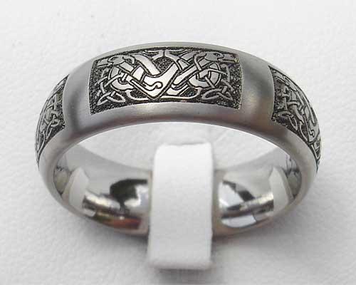 Domed Celtic Dog Titanium Ring