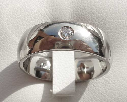 Diamond Set Domed Titanium Ring