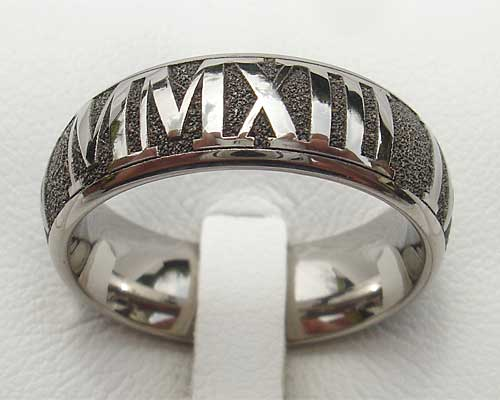 Domed Roman numeral ring