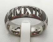 Roman numerals ring in titanium