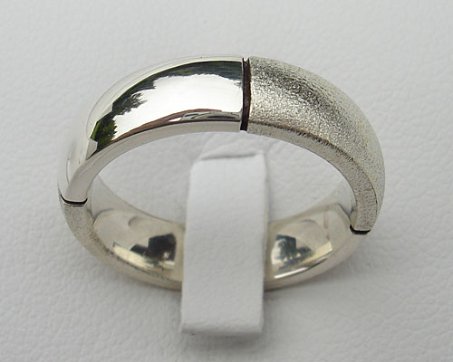 Twin finish silver wedding ring