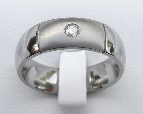 Domed two tone diamond wedding ring