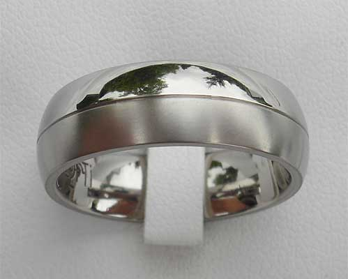 Twin Finish Two Tone Titanium Ring