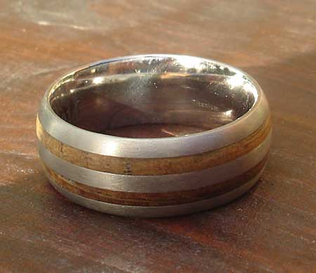 Wood inlay wedding ring