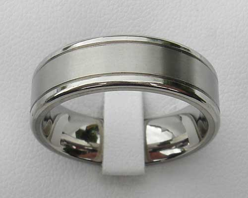Dual Finish Titanium Wedding Ring