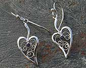 Filigree silver drop earrings