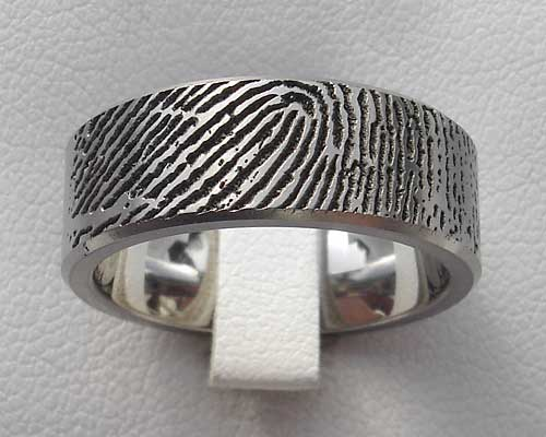Personalised Fingerprint Titanium Ring