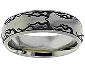 Titanium ring with a fire design engraving