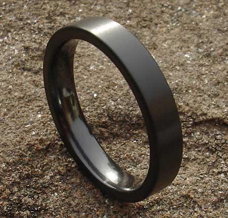 Men S Flat Profile Black Wedding Ring Love2have In The Uk