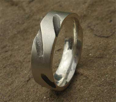 Designer sterling silver wedding ring