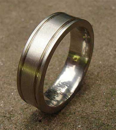 Grooved flat plain wedding ring
