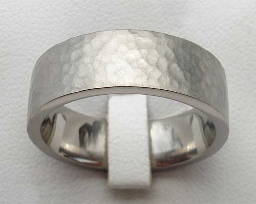 Flat hammered titanium wedding ring