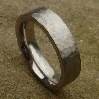 Flat hammered plain wedding ring