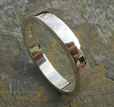 Flat plain silver wedding ring