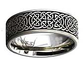 Celtic ring made from titanium with a Celtic knot engraving