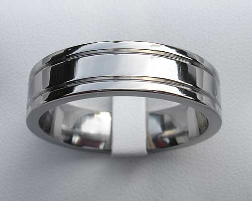 Flat Grooved Titanium Wedding Ring