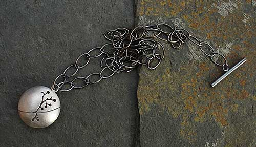 Floral designer sterling silver necklace