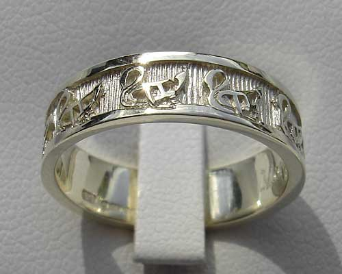 Wild Geese Silver Celtic Wedding Ring