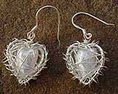 Glass heart silver drop earrings