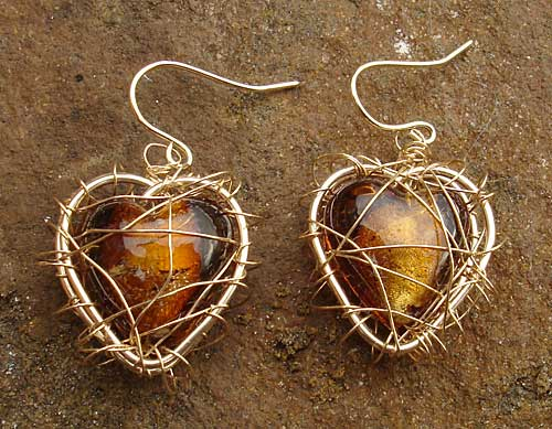 Gold Caged Heart Earrings