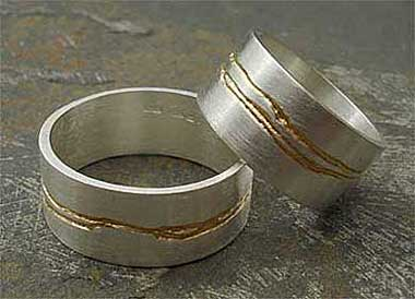 Womens Gold Etched Silver Ring