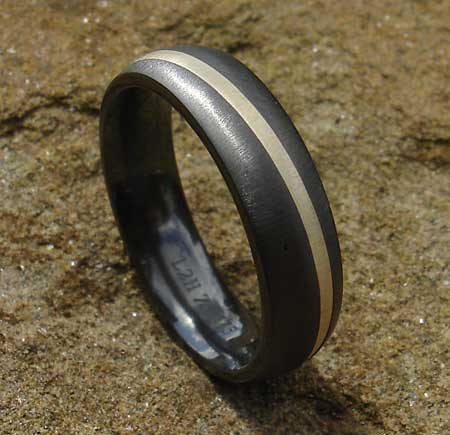Size X Gold Inlay Black Wedding Ring