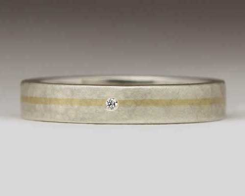 Gold and silver diamond wedding ring